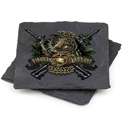 USMC Natural Stone Coaster- Devil Dog First In Last Out Gift Box (Set Of 2) ()