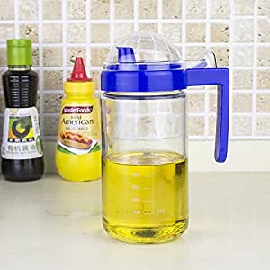 Leakproof glass oiler, condiment bottles, kitchen glass oiler, with a scale, 500ml