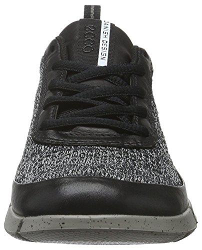 Ecco Womens Intrinsic Knit Fashion Sneaker Black / Concrete