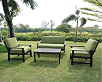 Outdoor Patio Furniture Sofa Chat Table Set Teak Wood Finish Deep Seating Cushions from Outdooor Furniture