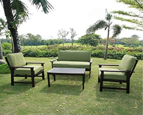 Outdoor Patio Furniture Sofa Chat Table Set Teak Wood Finish Deep Seating  Cushions