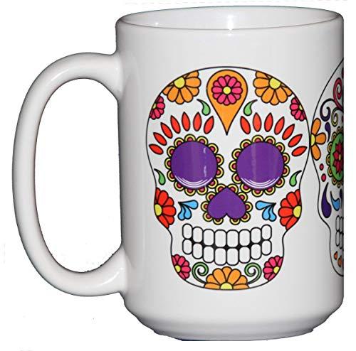 Day of the Dead Sugar Skulls - Dia De Los Muertes - 15oz Large Coffee -
