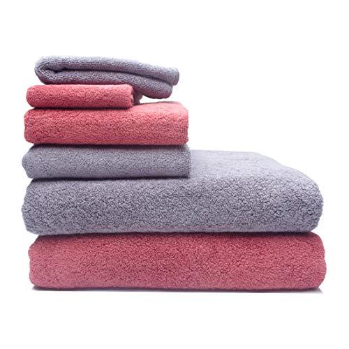 Bath Towel Set for Bathroom, 100% Cotton Towels Sets of 6 – 2 Large Bath Towels, 2 Hand Towels, 2 Washcloths (Dull Red…