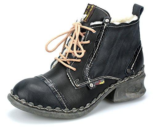 TMA Damen Winter Stiefeletten Boots Gefütterte Freizeitschuhe Stiefel 5355F Schwarz