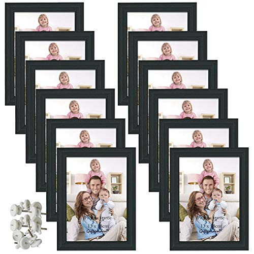 Giftgarden 5x7 Picture Frame for Wall Decor or Tabletop, Black, 12 Pack