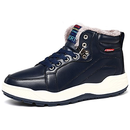 VILOCY Men's Warm Leather Waterproof Snow Boots Anti-Slip Fur Lined Ankle Sneakers High Top Shoes Dark Blue,43