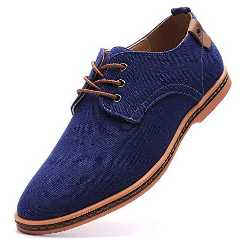 DADAWEN Men's Casual Canvas Lace Up Oxfords Shoes Blue US Size 10 (Blue Suit Shoes)
