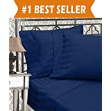 Elegant Comfort 3-Piece Damask Stripe Duvet Cover Set, Full/Queen, Navy Blue
