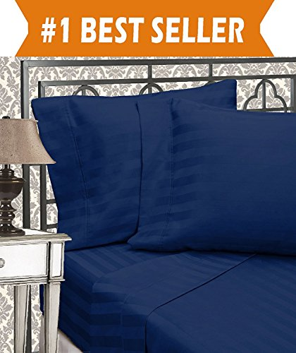 Elegant Comfort Best, Softest, Coziest 6-Piece Sheet Sets! - 1500 Thread Count Egyptian Quality Luxurious Wrinkle Resistant 6-Piece DAMASK STRIPE Bed Sheet Set, King Navy Blue (Comfort Sets)