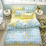 Sookie 3 Piece Duvet Cover Set with 2 Pillow Shams - 800 Thread Count Luxurious&Extremely Durable Premium Bedding Collection - Double blue yellow Eggs with chicken pattern - Queen Size