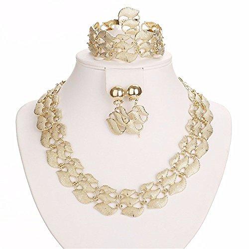 Moochi Gold-Plated 5PC Wide Leaf Pattern Jewelry Set Necklace Earrings Bracelet Ring