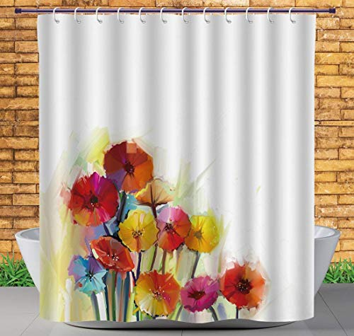 Bag shrot Polyester Soft Fabric Shower Curtain, Watercolor Flower Home Decoration, Chrysanthemum Bouquet Romantic Elegant Fragrant Beauty, Orange, 60x72 in