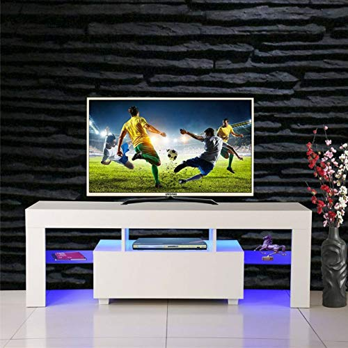 Light Wood Tv Stands - SSLine Modern White TV Stand with LED Light Wood Television Stand Media Storage Console Cabinet with Drawer and Shelves Entertainment Center Living Room Bedroom Furniture (Max for 52