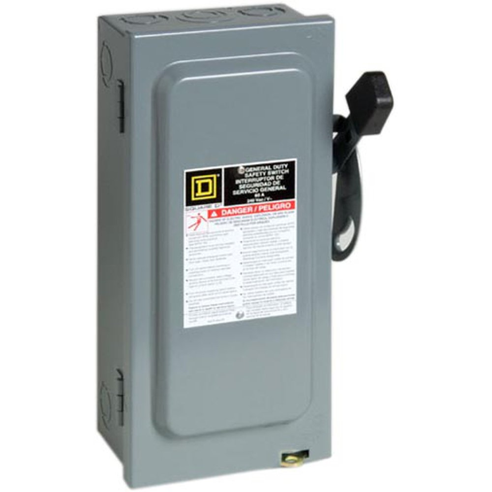 Square D by Schneider Electric D322N 60-Amp 240-Volt Three-Pole Indoor General Duty Fusible Safety Switch with Neutral
