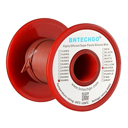 Brown Wire 100ft Spool - BNTECHGO 30 Gauge Silicone Wire Spool Brown 100 feet Ultra Flexible High Temp 200 deg C 600V 30 AWG Silicone Rubber Wire 11 Strands of Tinned Copper Wire Stranded Wire for Model Battery Low Impedance
