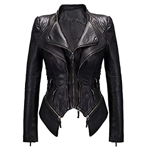 chouyatou Women's Fashion Studded Perfectly Shaping Faux Leather Biker Jacket