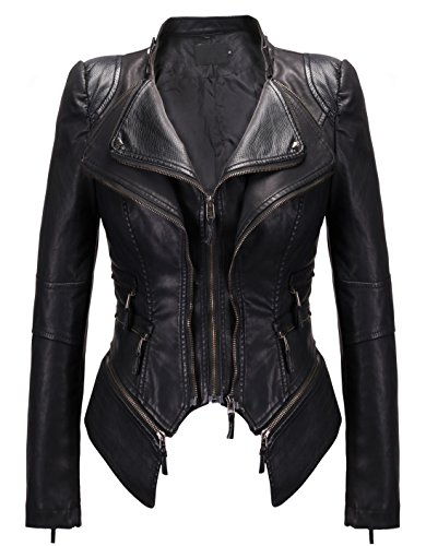 chouyatou Women's Fashion Studded Perfectly Shaping Faux Leather Biker Jacket (Small, New-Black)