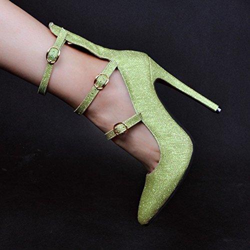 Chaussures Pointed toe Green Talon Trois Pompes Mode Party Glitter Haut Boucles Femmes Kolnoo Evening qB7RZxFw