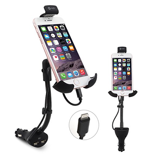 Te-Rich 2-in-1 Cigarette Lighter Phone Holder Car Mount Charger with Built-in Lightning Cable for iPhones - Dual USB, 3.1A Max (Cell Lighter Universal Socket Phone)