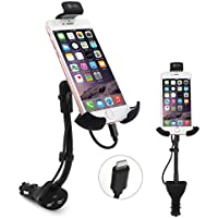 Te-Rich Upgraded 2-in-1 Cigarette Lighter Phone Holder Car Mount Charger with Built-in Lightning Cable for iPhones - Dual USB, 3.1A Max