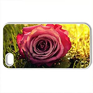 beautiful rose flower grass - Case Cover for iPhone 4 and 4s (Flowers Series, Watercolor style, White)