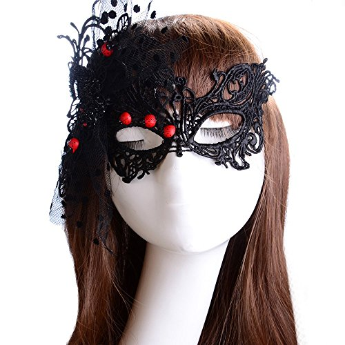 Lady Masquerade Party Soft Sexy Lace Eye Mask with Small Beatles, Black (Sexy Werewolf Costume)
