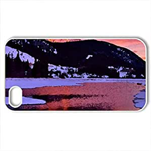 Cascade Mountain - Case Cover for iPhone 4 and 4s (Mountains Series, Watercolor style, White)