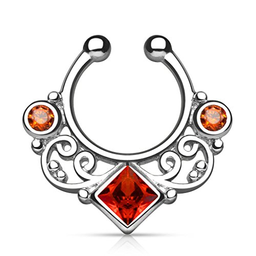 Lobal Domination 1pc Non-Piercing Lace Swirl Septum Hanger Clip-On Fake Nose Ring Body Jewelry (Silver with Red Gems) (Ring Nose Red Gem)