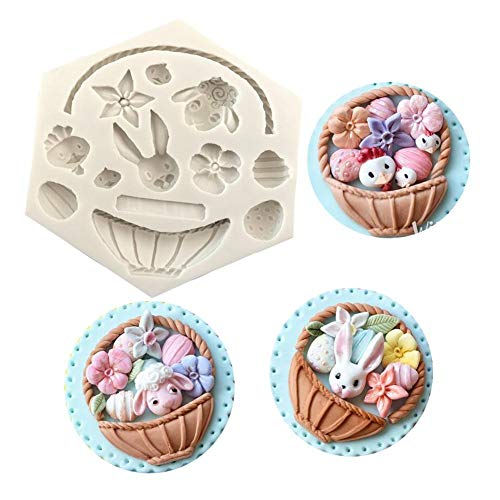 Gorge-buy Easter Theme Silicone Cake Mould - 3D Flower Basket Fondant Candy Making Molds, Decoration Easter Bunny Egg Mold, Chocolate Mold Baking Tool Suitable for Baking DIY Cakes (Flower Mold Basket)