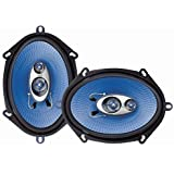 """5"""" x 7"""" Car Sound Speaker (Pair) - Upgraded Blue Poly Injection Cone 3-Way 300 Watts w/ Non-fatiguing Butyl Rubber Surround 8"""