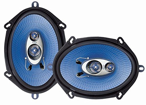 "5"" x 7"" Car Sound Speaker (Pair) – Upgraded Blue Poly Injection Cone 3-Way 300 Watts w/ Non-fatiguing Butyl Rubber Surround 80 – 20Khz Frequency Response 4 Ohm & 1″ ASV Voice Coil – Pyle PL573BL"