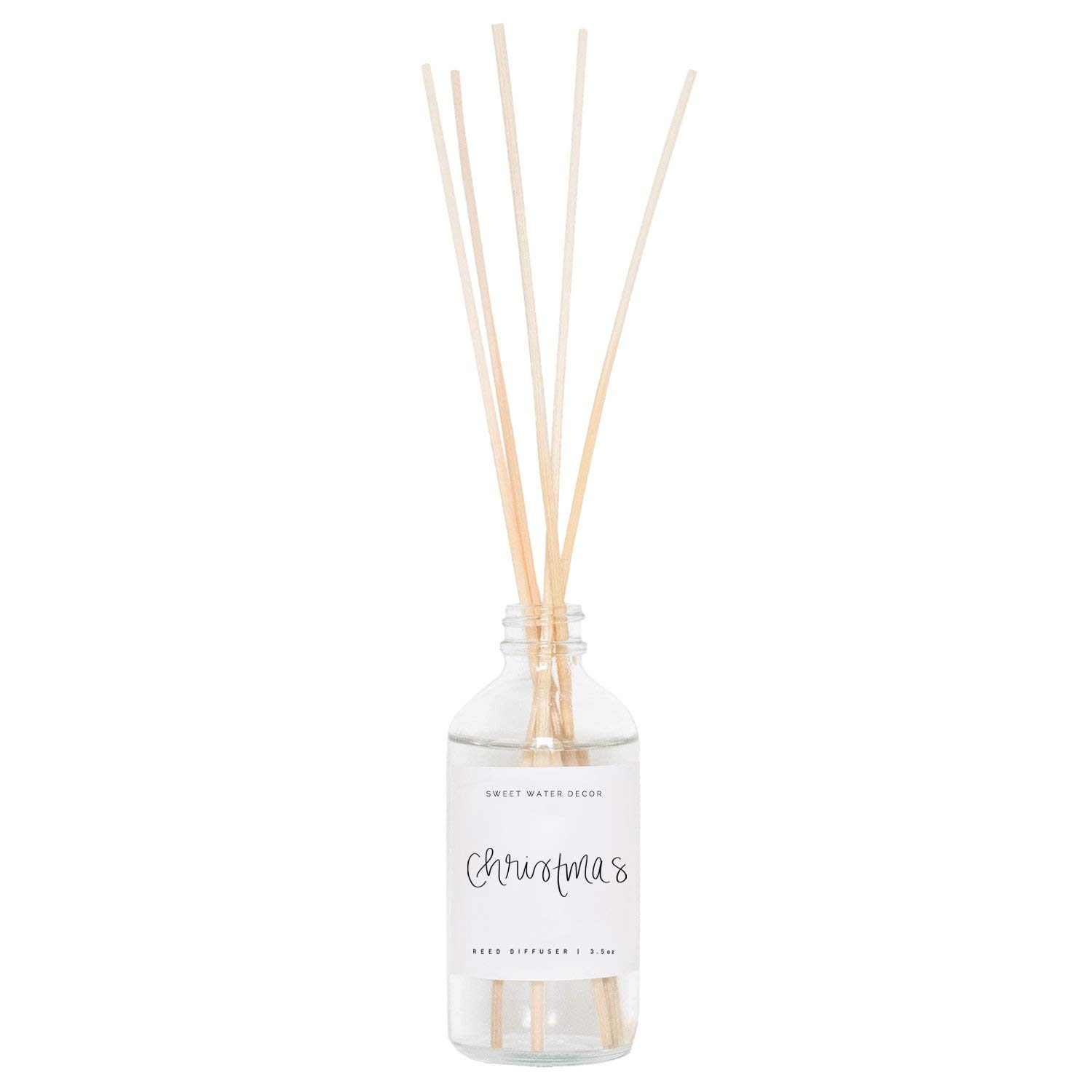 Sweet Water Decor Christmas Reed Diffuser Set Christmas Trees Pine Tree Forest Scented Holiday Scents Aroma Fragrance Oils Decorative Scent Sticks Air Freshener Aromatherapy Hostess Housewarming Gift