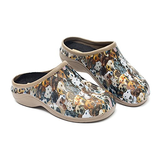 Backdoorshoes Waterproof Premium Garden Clogs with Arch Support-Dogs Design by