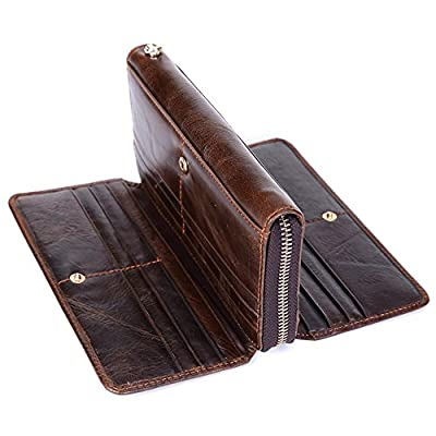 Mn&Sue Men's Cowhide Leather Vintage Long Organizer Zipper Wallet Trifold Murse Business Clutch Pouch