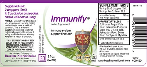 Baseline Nutritionals Immunify – Immune Support with Echinacea, Astragalus, Pau D Arco, Suma Root Cordyceps.