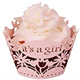 12Pcs Pearly Paper It'S A Girl Design Vine Lace Cup Cake Decorations Home Party