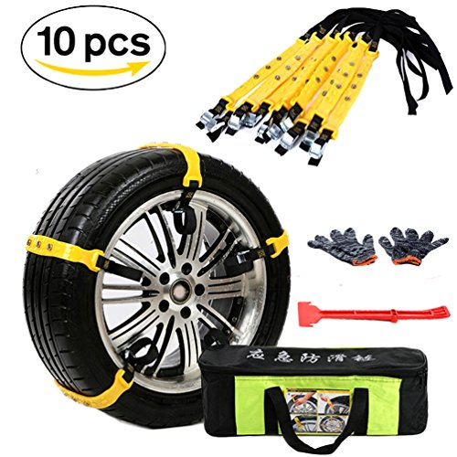 Snow Chains 10 Pcs Anti Slip Tire Chains Adjustable Emergency Traction Security Car Tire Snow Chains Fit for Most Car SUV Truck by BiBOSS (Image #2)