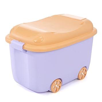 Caja de almacenamiento de juguetes con ruedas de plástico apilable, cajas de almacenamiento con tapa, cajas organizadoras para coche, oficina y cocina, ...