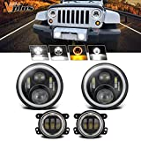 Partsam 7 inch Jeep Daymaker LED Headlights w/White DRL Halo Ring DRL/Amber + 4 inch LED Fog Lights Halo Turn Signal w/ H16 5202 Adapter Replacement for Jeep Wrangler 1997-2018 JK LJ TJ (4PCS)