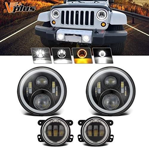 Partsam 7 inch Jeep LED Headlights w/White DRL Halo Ring DRL/Amber + 4 inch LED Fog Lights Turn Signal w/ H16 5202 Adapter Compatible with Jeep Wrangler 1997-2018 JK LJ TJ (4PCS) ()