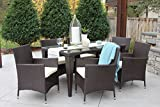 Cheap 7 PC Modern Outdoor All Weather Wicker Rattan Table Patio Set Furniture Dining