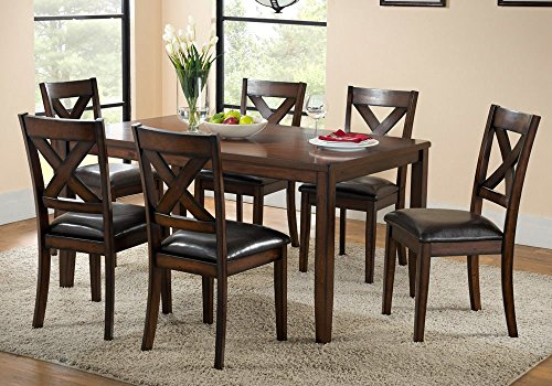 1PerfectChoice Palm Springs 7 pcs Dining Set PU Seating Chairs X Back Cappuccino Wood Thick Leg