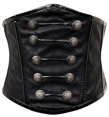 Alivila.Y Fashion Women's Faux Leather Rivet Steampunk Retro Boned Wide Corset Belt