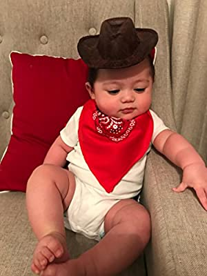 BBEnterprises Cowboy Hat (Attachable Headband Included) with Red Bandanna for Babies and Children! Perfect for Photos !