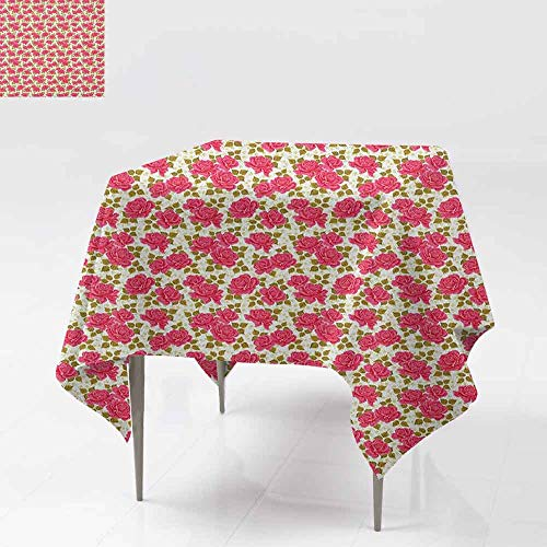 - DUCKIL Elegant Waterproof Spillproof Polyester Fabric Table Cover Valentines Day Inspired Corsage of Roses with Blooming Petals Fresh Leaves Picnic W50 xL50 Yellow Green Pink