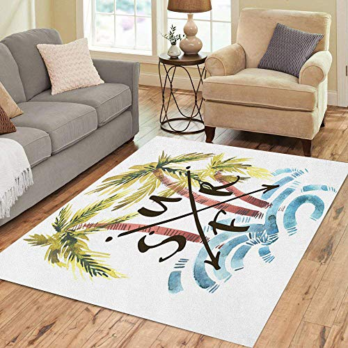 Semtomn Area Rug 5' X 7' Vintage Watercolor Summer Surf Palm Trees Waves and Lettering Home Decor Collection Floor Rugs Carpet for Living Room Bedroom Dining Room