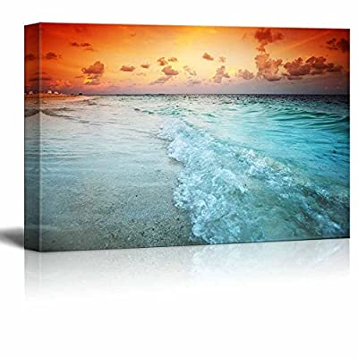 Canvas Prints Wall Art - Beautiful Scenery/Landscape Sunset on The Sea Beach | Modern Home Deoration/Wall Art Giclee Printing Wrapped Canvas Art Ready to Hang - 16