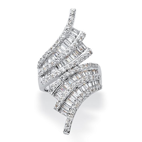(Palm Beach Jewelry Silver Tone Baguette Cut and Round Cubic Zirconia Multi Row Bypass Ring Size 9)