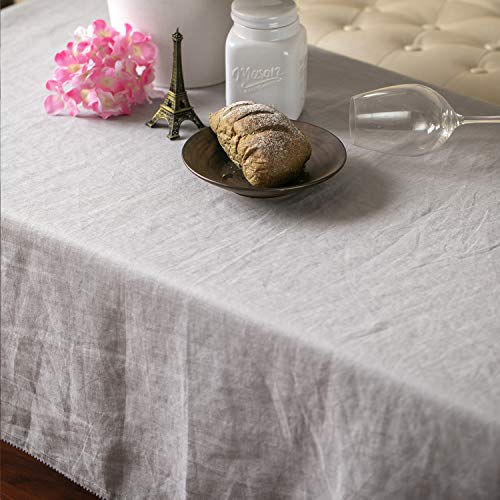 Linendo 100% Pure Linen Tablecloth - 66 x 66 Inch, European Flax Natural Fabric Square Cover for Home and Kitchen Dinning Table Cloth Decoration(Grey)
