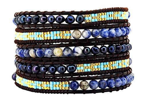 Womens Simulated Gemstones Beaded Leather Wrap Around Bracelet (Dyed Black Freshwater Cultured (Cultured Pearl Gemstone Bracelet)